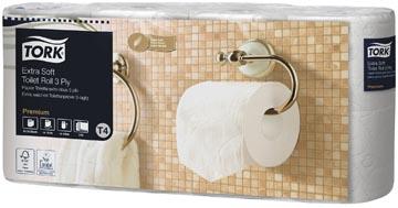 Tork Toiletpapier Extra Soft 3-laags, Wit, 155 Vel ,voor systeem T4, pak van 8 rollen