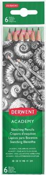 Derwent grafietpotlood Academy , pak van 6 stuks: 3B-2B-B-HB-H-2H