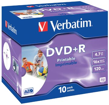 Verbatim DVD recordable DVD+R, printbaar, doos van 10 stuks, individueel verpakt (Jewel Case)