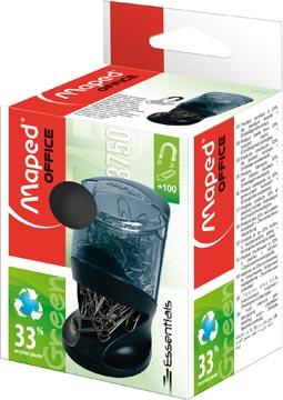 Maped papierklemhouder Essentials Green, grijs/zwart, met 100 paperclips