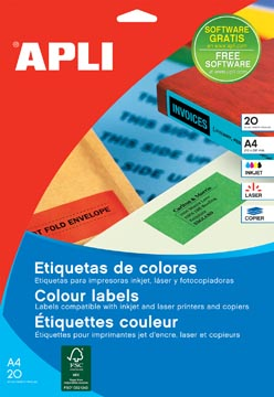 Apli Gekleurde etiketten ft 70 x 37 mm (b x h), groen, 480 stuks, 24 per blad (1594)