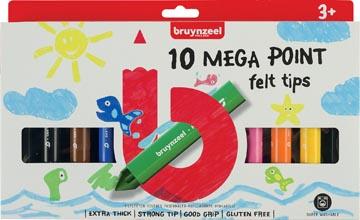 Bruynzeel Kids viltstiften Mega Point, blister van 10 geassorteerde kleuren