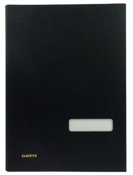Class'ex handtekenmap, linnen omslag, zwart