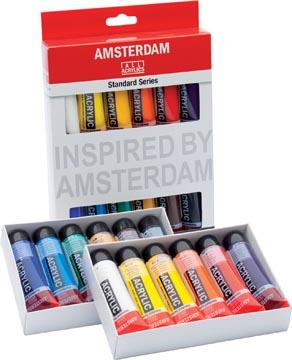 Amsterdam acrylverf tube van 20 ml, etui van 12 stuks in geassorteerde kleuren