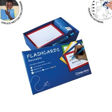 Correctbook Flashcards (systeemkaarten), ft A5, uitwisbaar / herbruikbaar, gelijnd, pak van 144 stuks