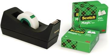 Scotch plakbandafroller zwart + 4 rollen